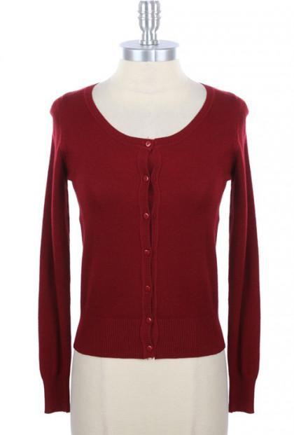 burgundy cardigan