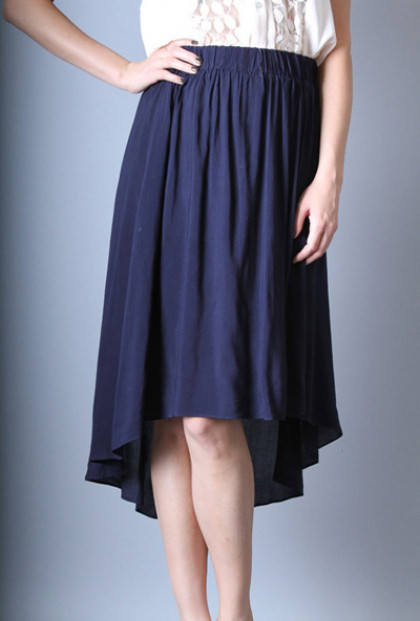 navy High Low Midi Skirt
