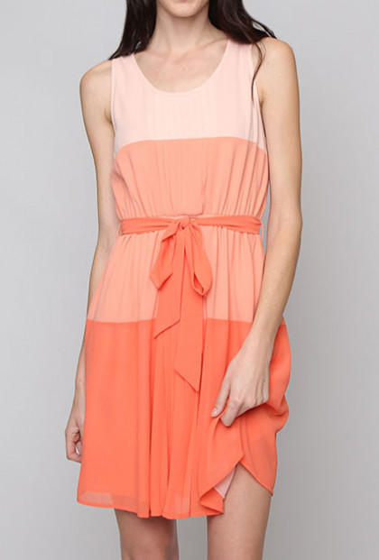 Gradient Color Block Sleeveless Dress