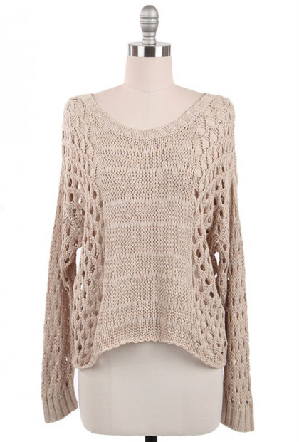 Just Friends Beige Slouchy Open Knit Sweater