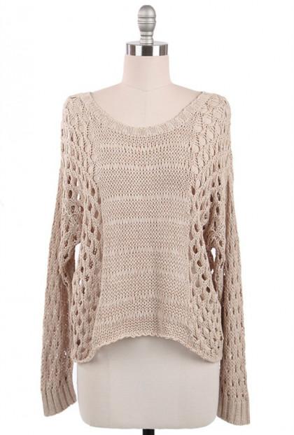 Just Friends Beige Slouchy Open Knit Sweater