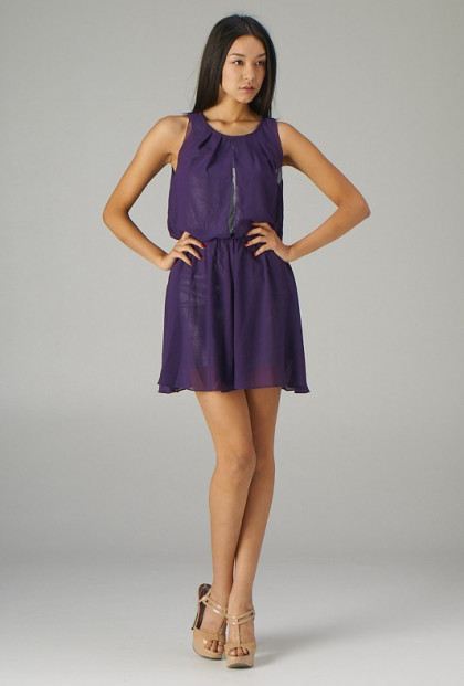 Purple Sequin Layered Cocktail Dress