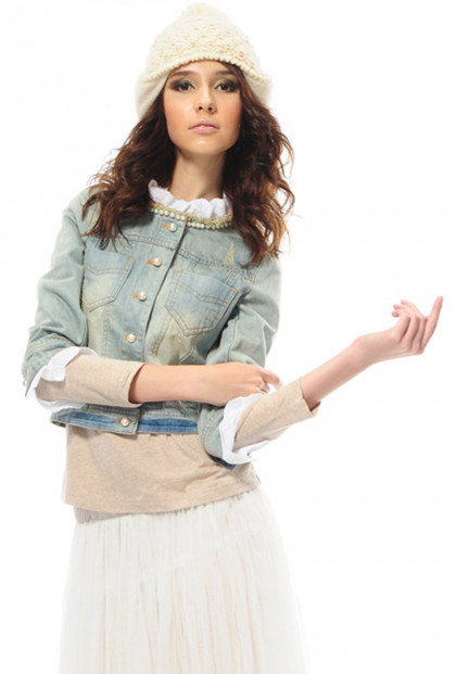 Lace Pearl Trim Denim Jacket
