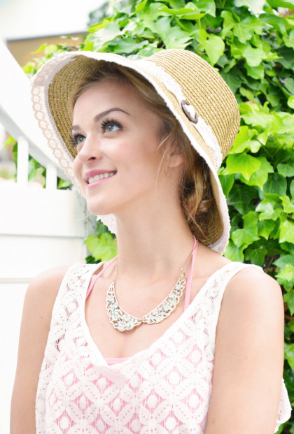 Hat - My Fair Lady Lace Trim Straw Wide Brim Sun Hat in Tan