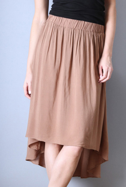 brown High Low Midi Skirt