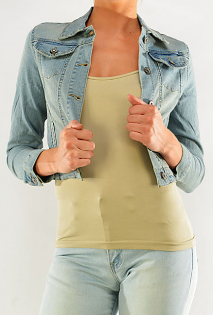 light stone wash cropped denim jacket