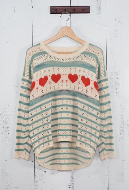 Heart and Striped Pointelle Knit Boyfriend Sweater in Light Blue/Red