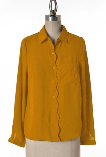mustard yellow Scallop Trim Long Sleeve Blouse