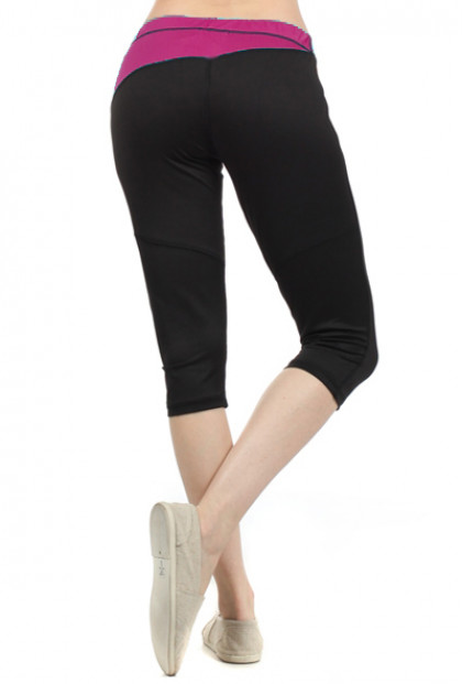 Meditation Session Contrast Waist Workout Capris with Perforated Slant Back in Dark Fuchsia