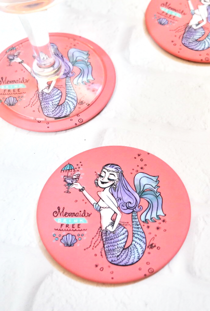 mermaid drink coasters