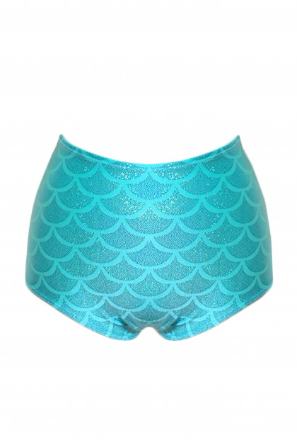 Mermaid Scale High Waist Swim Bottom in Aqua
