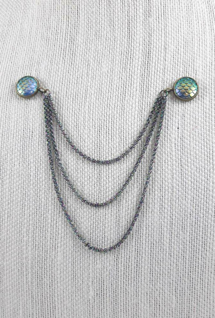 Mermaid Iridescence Chain Collar Pins