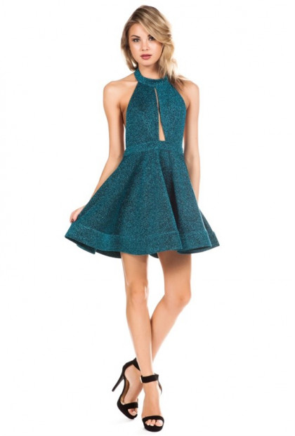 Mermaid Splendor Glittery Halter Dress in Sea Green