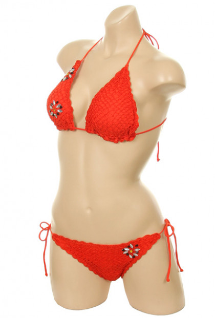 Crochet Scallop Edge Triangle Bikini Set in Sunset Orange