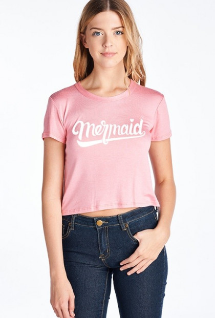pink mermaid graphic crop tee