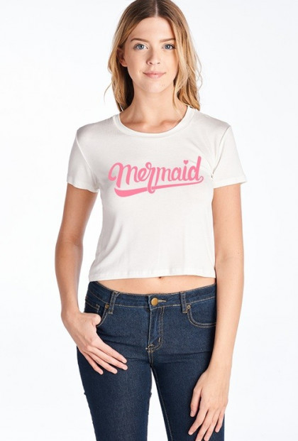 white mermaid graphic crop tee