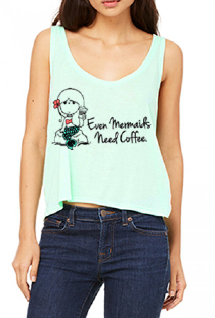 Mermaids Need Coffee Flowy Crop Mint Tank Top