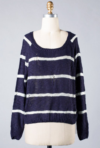 Navy Distressed Stripe Knit Sweater
