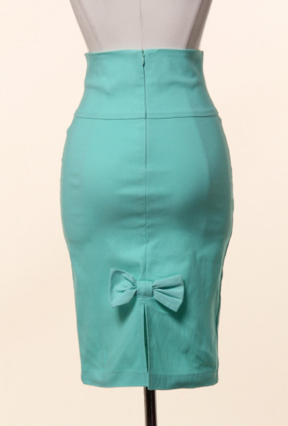 mint Bow Back High Waist Pencil Skirt