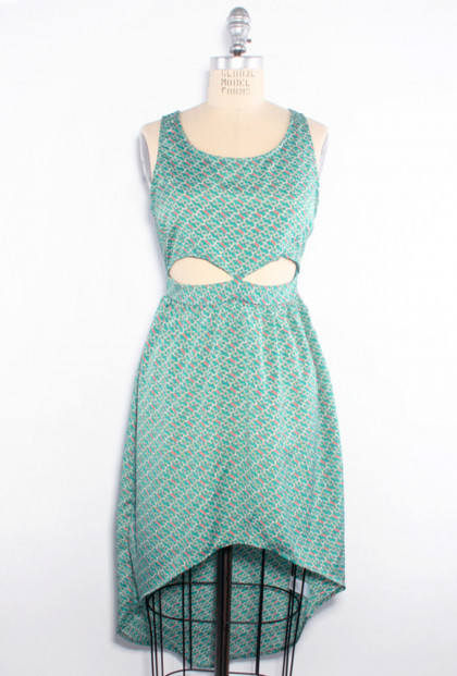 Chain Print Cutout Hi-Low Dress in Teal