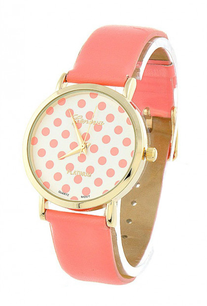 Polka Dot Pattern Dial Coral Pink Watch