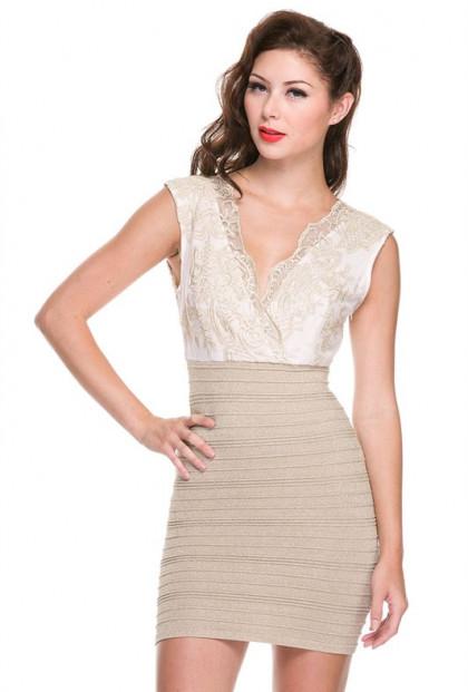 Gold Lace Mesh Shimmery Bandage Dress