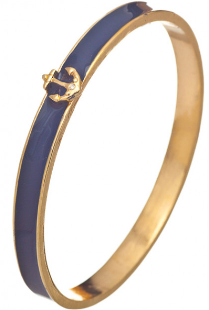 Nautical Navigation Anchor Embellished Bangle Bracelet in Navy