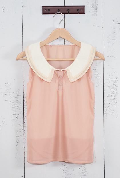 pink Lace Trim Vintage Collar Sleeveless Top