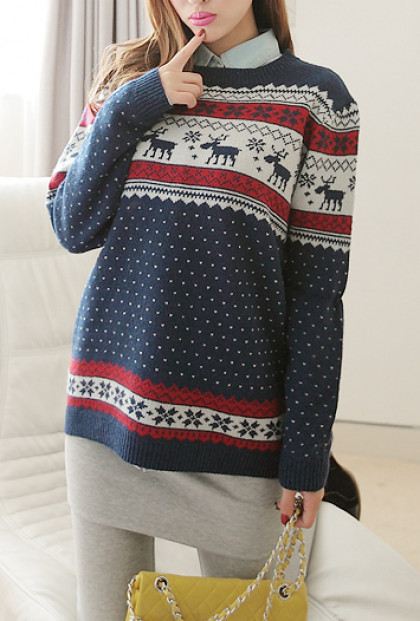 Navy Nordic Print Sweater