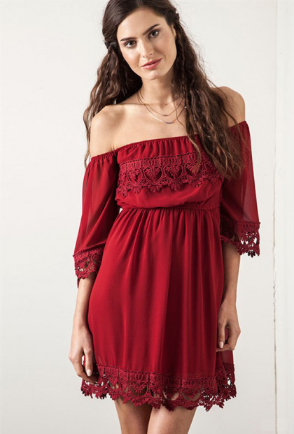Wine Off Shoulder Lace Dress