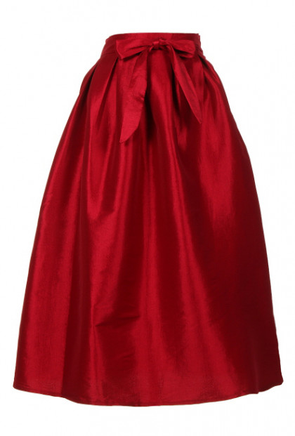 Taffeta red Midi Skirt