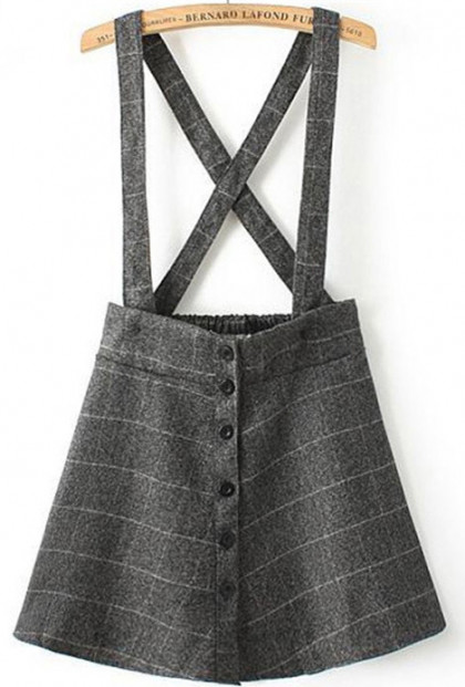 overall plaid skater skirt