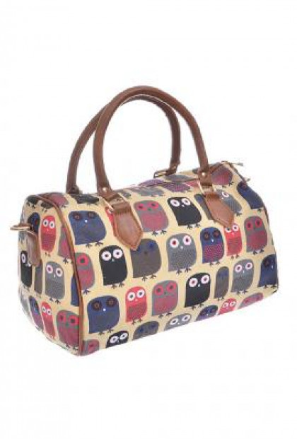 Owl Print Barrel Satchel Handbag