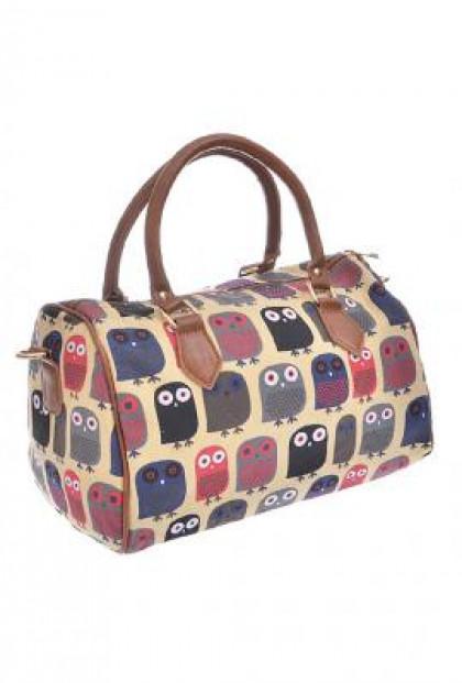 Owl Print Barrel Satchel Handbag