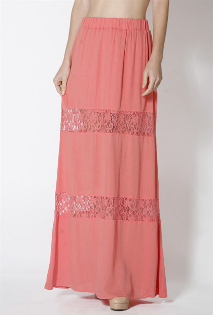 coral Lace Paneled Gauze Maxi Skirt