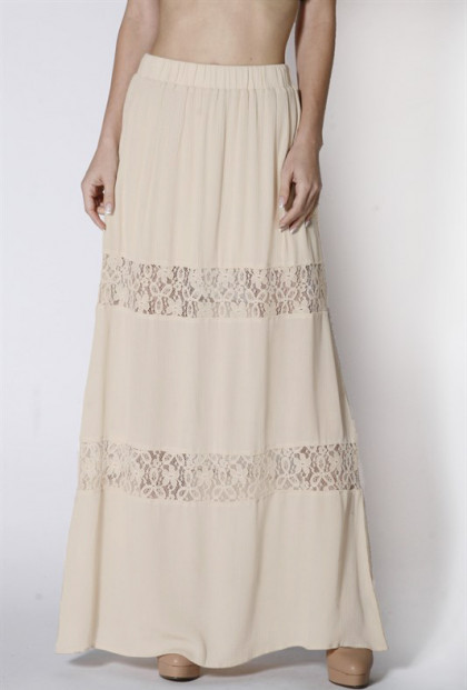 beige Lace Paneled Gauze Maxi Skirt