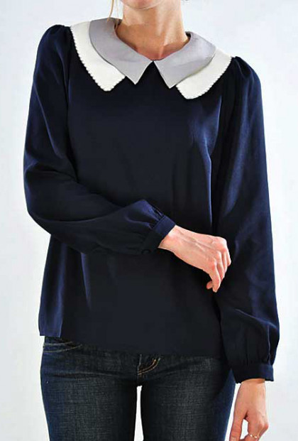 Collar Top - Personal Assistant Long Sleeve Double Layer Collar Top in Navy