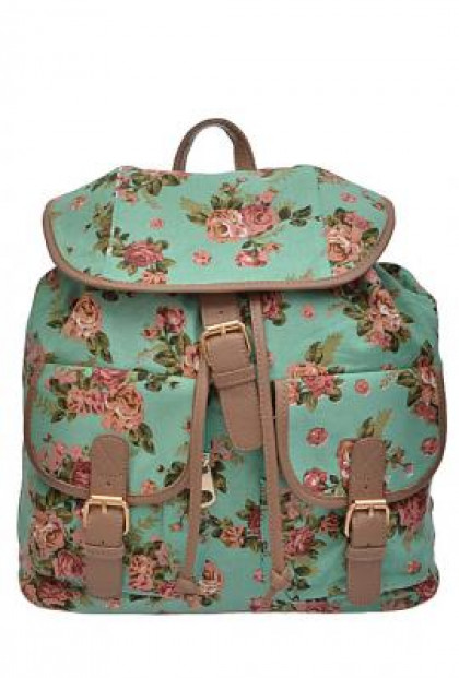 Backpack - Shabby Chic Floral Print Slouch Mint Backpack