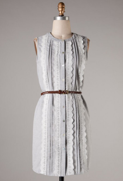 Grey Sleeveless Lace Pleated Shift Dress