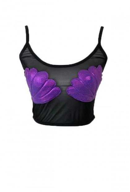Mermaid Seashell Mesh Top Purple