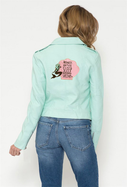 mermaid mint moto jacket
