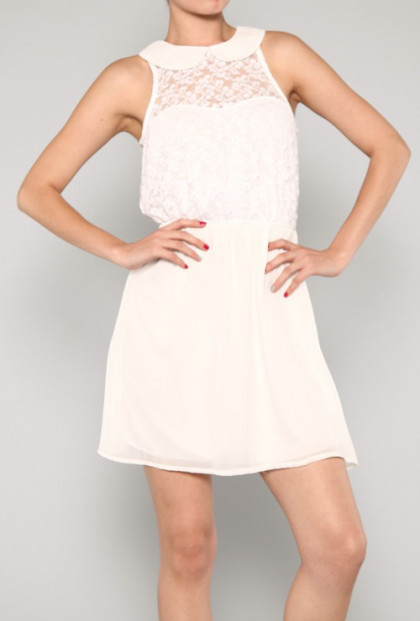 White Sleeveless Peter Pan Collar Lace Dress