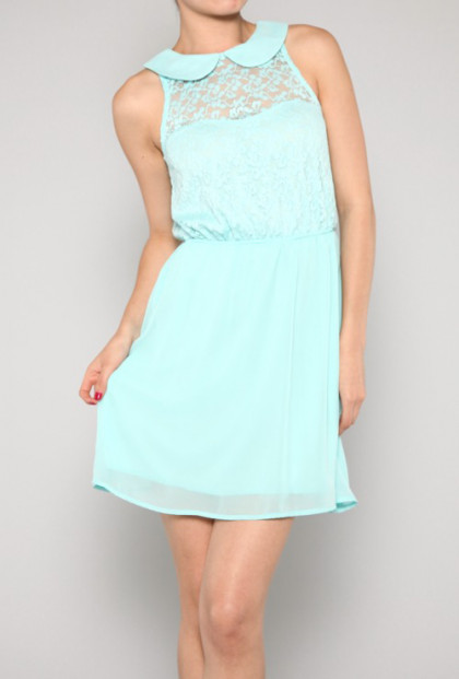 mint blue Sleeveless Peter Pan Collar Lace Dress