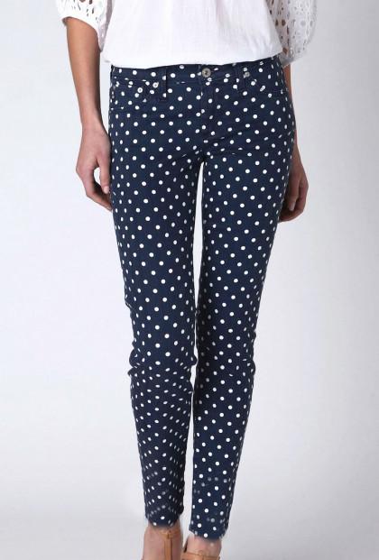 Polka Dot Navy Blue Skinny Jeans