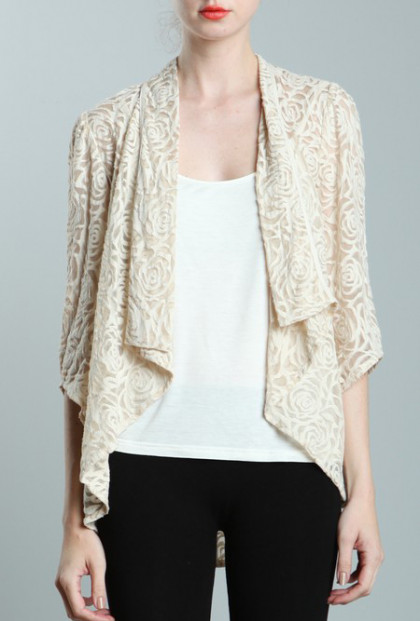 Rose Pattern Lace Cascading Collar Cream Jacket