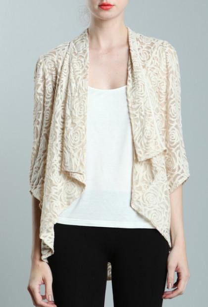 Rose Pattern Lace Cascading Collar Cream Jacket
