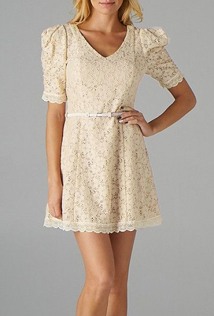 Ivory Floral Embroidered Belted Dress