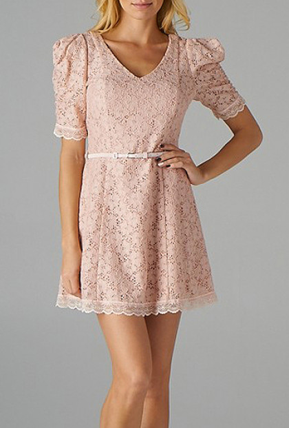 Pink Floral Embroidered Belted Dress