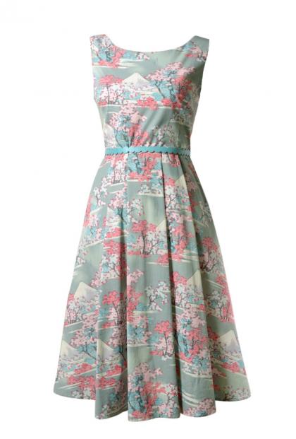 Hanami Cherry Blossom Sleeveless Midi Dress