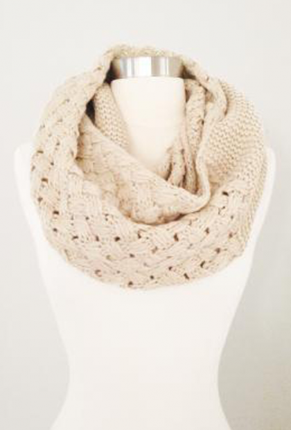 Beige Scarf - Autumn Serenity Lattice Weave Infinity Scarf